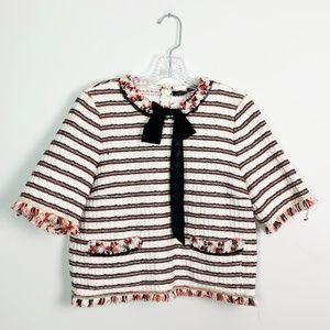 Zara | knit crop top fringe tie neck striped M